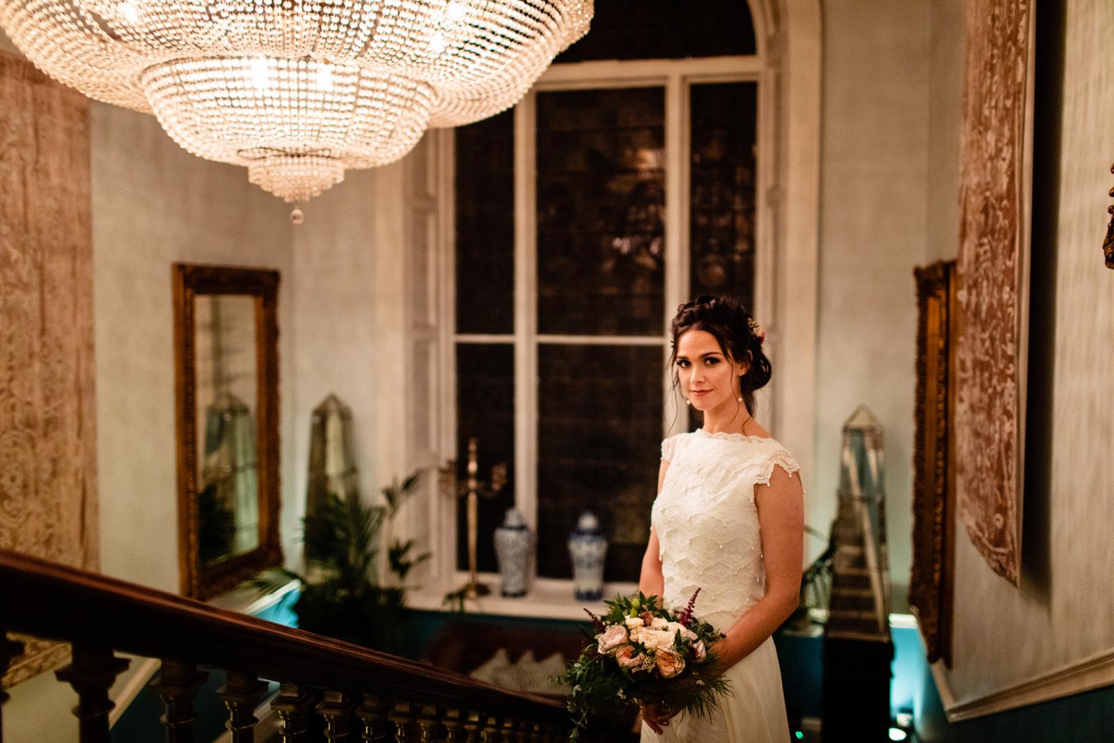 castle durrow staircase bridal portrait